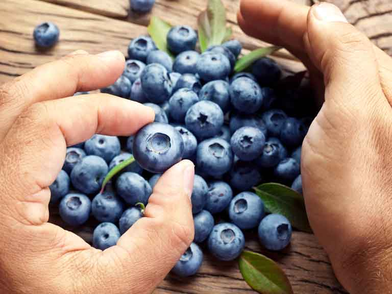 Man holding blueberries
