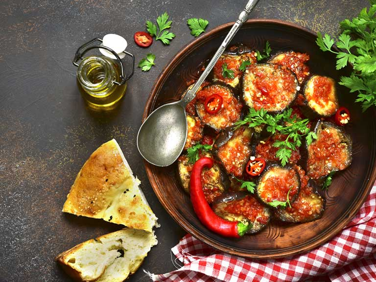 Aubergine and tomato are Mediterranean diet staples