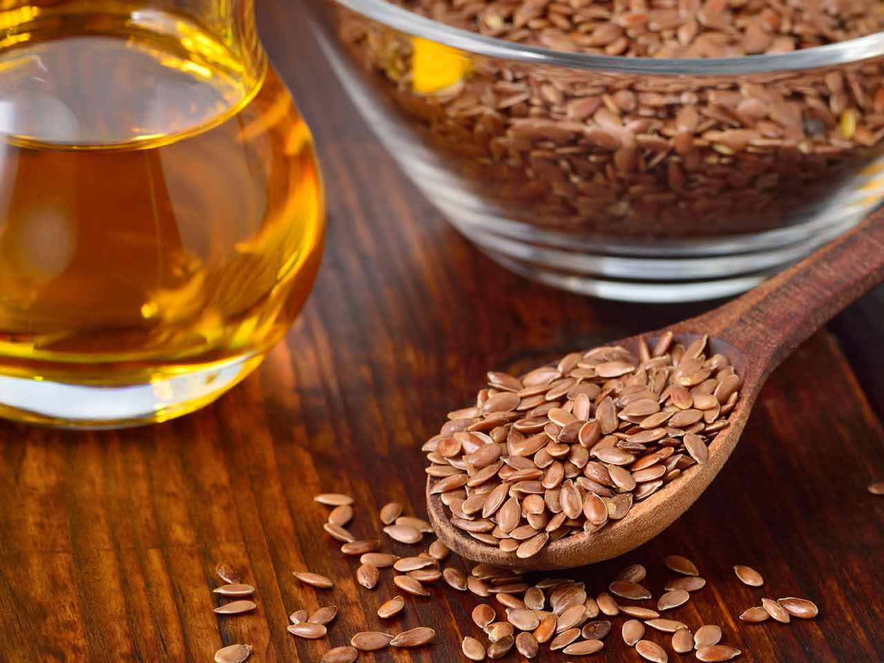 Whole flax seeds and flax seed oil