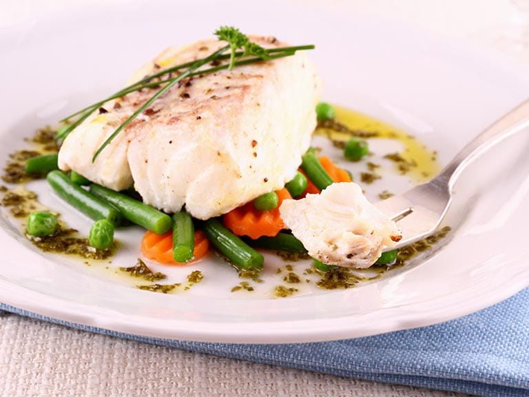 Healthy cod fillet with vegetables