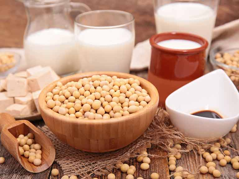 Soy products include soya milk, tofu, edemame beans, soy sauce, TVP, miso and tempeh, among others.