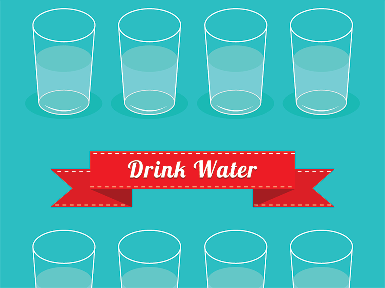 Graphic illustration of glasses of water
