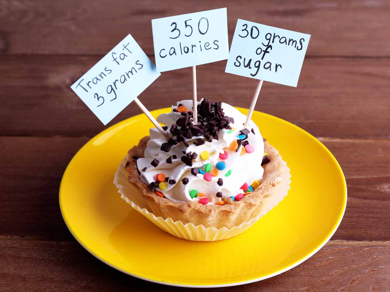 fat and calorie count of a frosted cupcake
