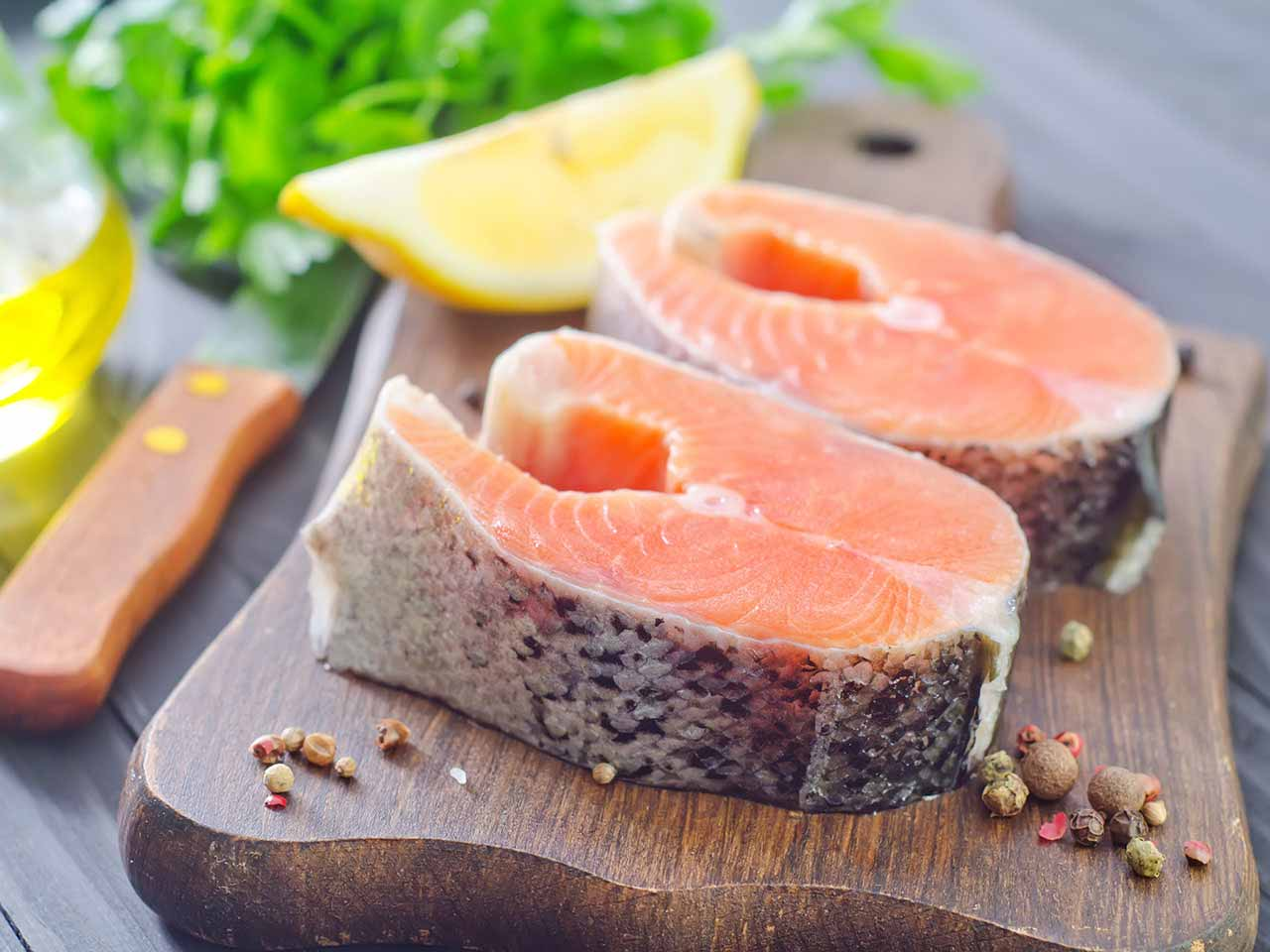 Two salmon steaks packed withe healthy fatty acids