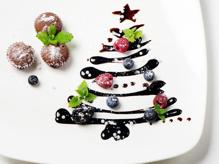 Christmas tree dessert on a plate