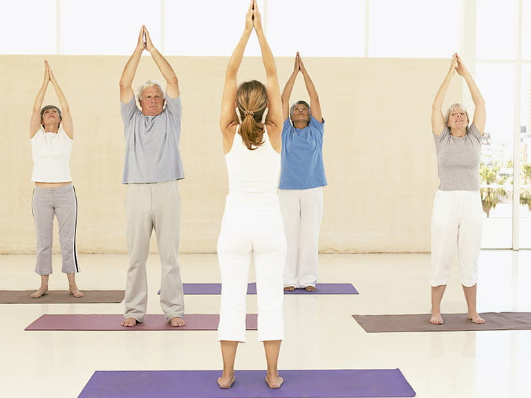 Older adults improving their balance with exercise