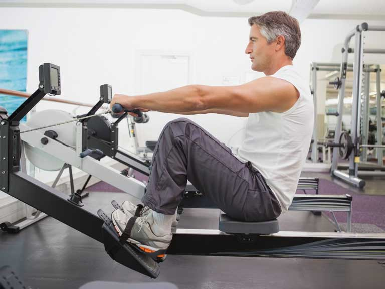 using a rowing machine