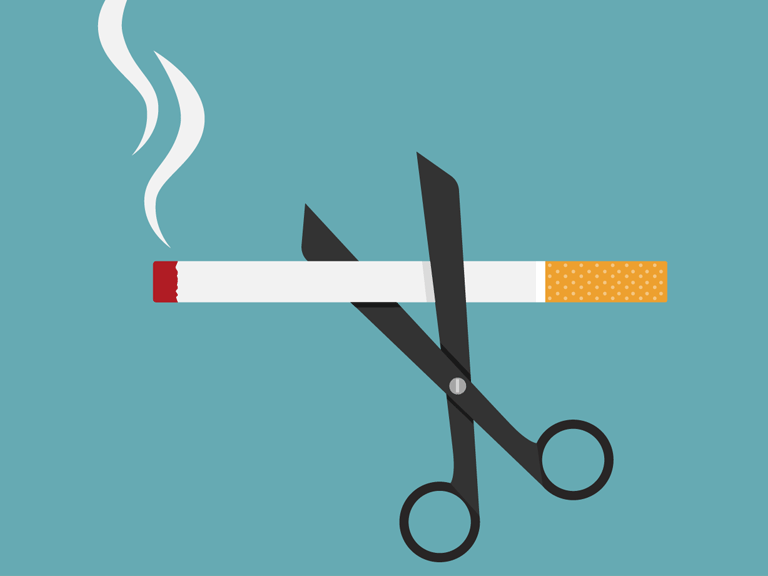 Illustration of a cigarette being cut in half
