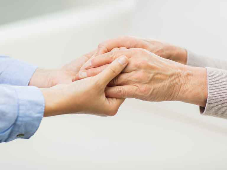 Holding or stroking your loved one's hand can be soothing and reassuring.