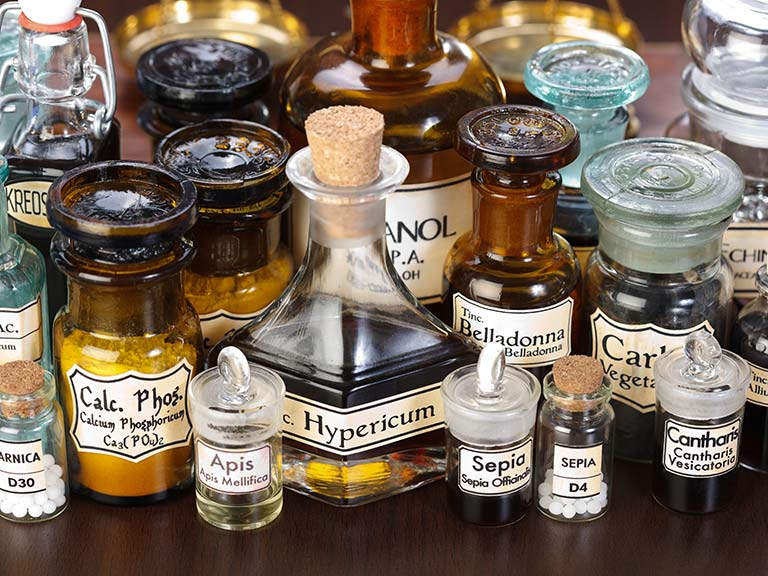 Homeopathic remedies in bottles