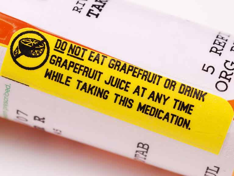 Grapefruit warning on medicine container