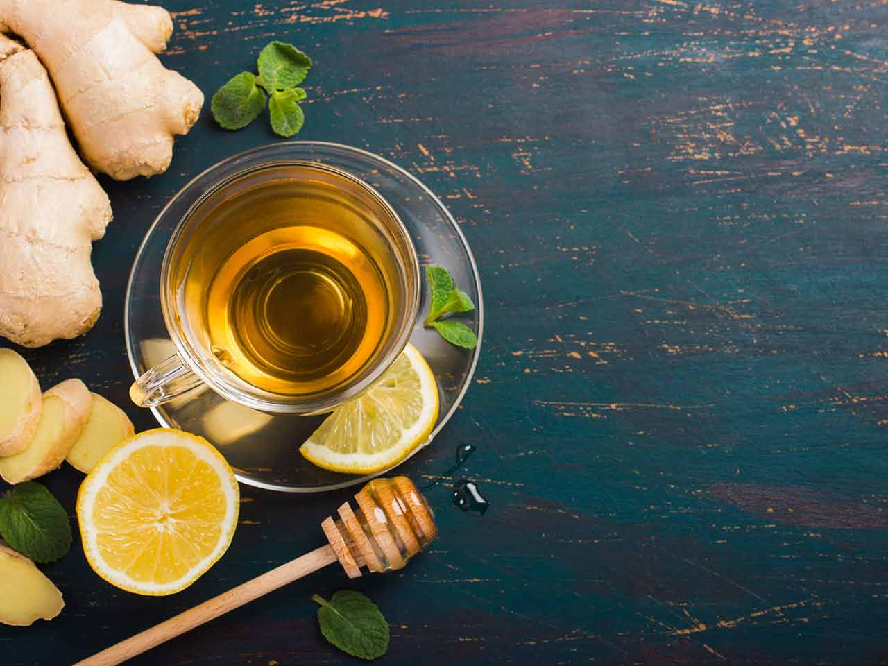 Honey, lemon and ginger infusion
