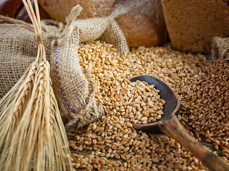 Wholegrains, wheat sheaf and laoves of bread