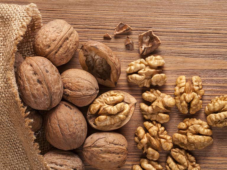 Walnuts on a table, as a source of magnesium