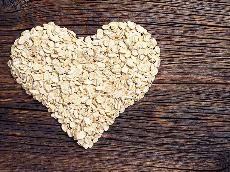 Heart shape made from oats
