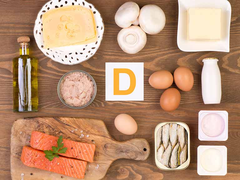 Dietary sources of vitamin D include salmon, egg yolks and tinned tuna