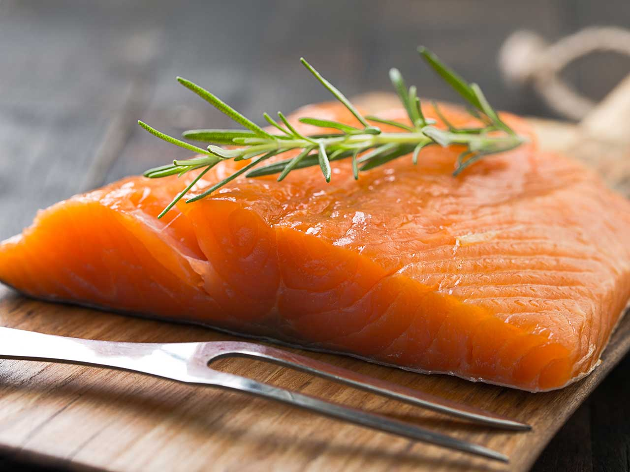 Source of vitamin B12 salmon fillet on board