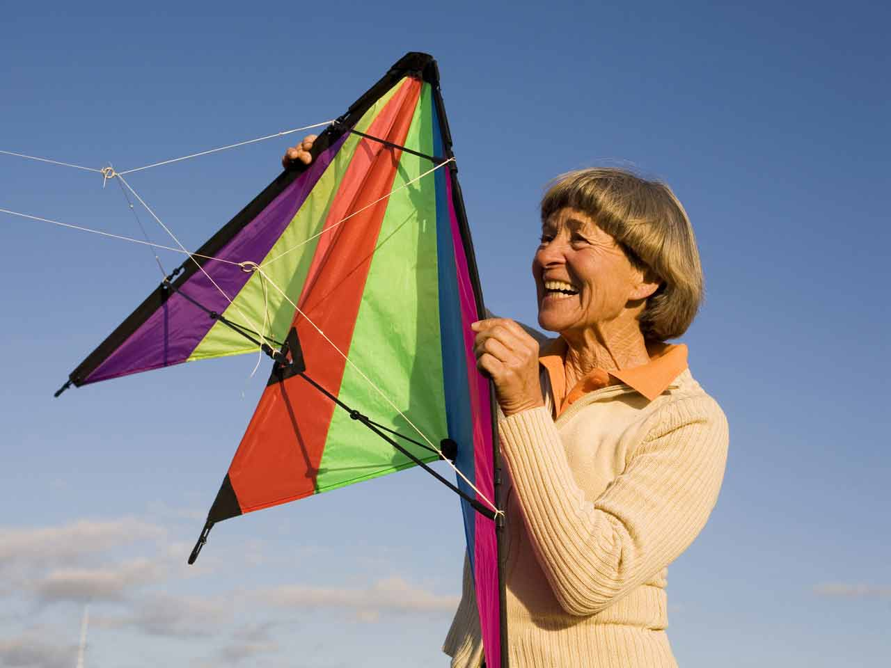 woman flying a kite