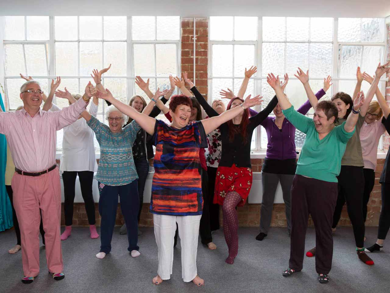 Claire Potter at a laughter yoga class