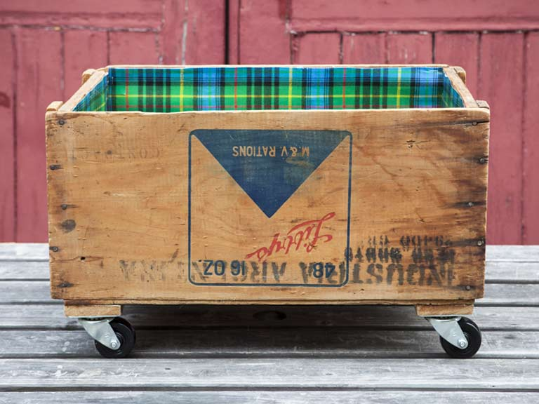 Upcycled crate on wheels