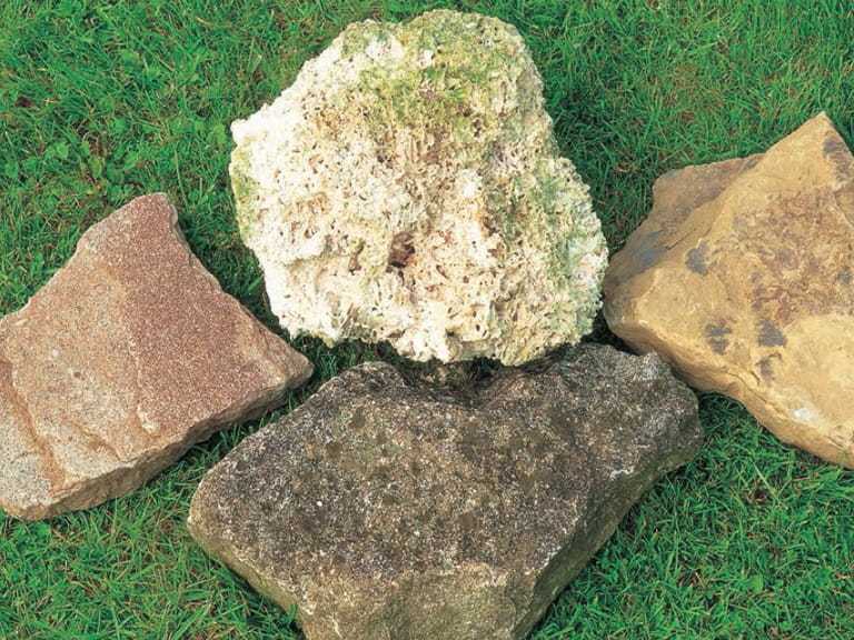 Rockery stones tufa, ironstone and two types of limestone.