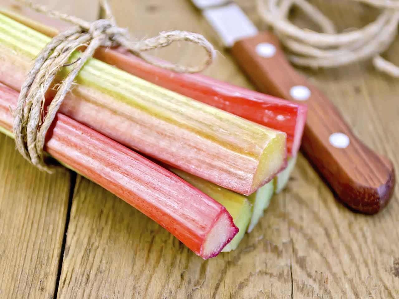 Rhubarb on chopping board