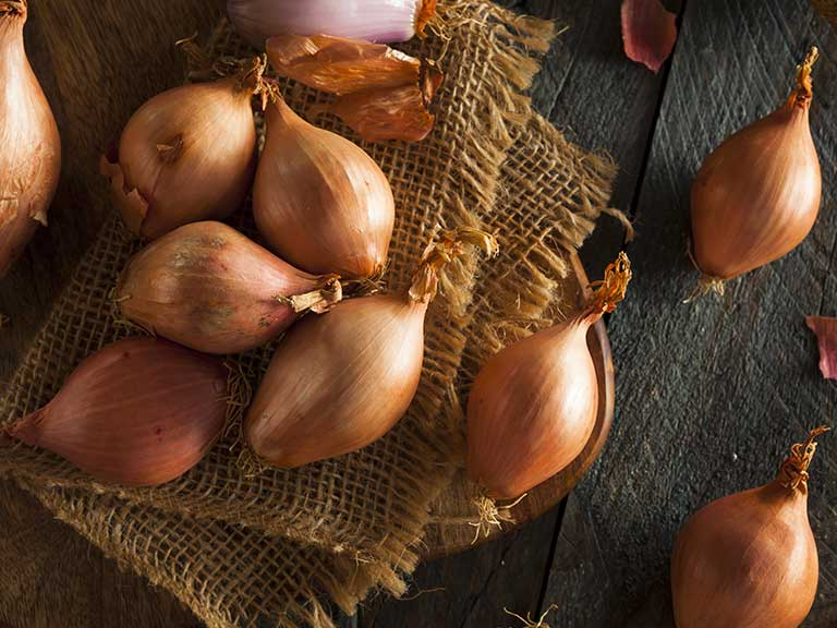 Shallots on a hessian background