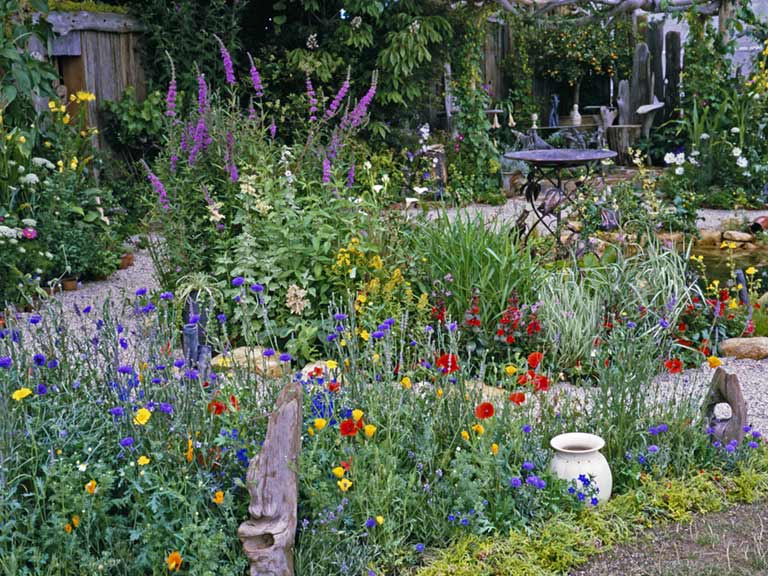 Cottage garden design plants structure proximity Saga
