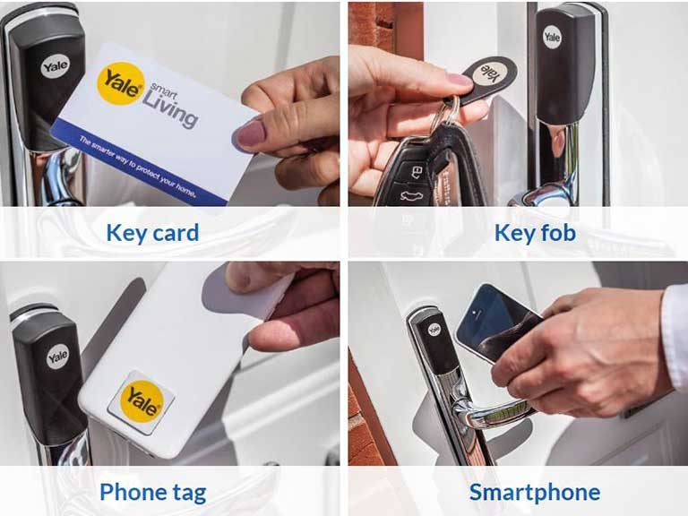 Four photos demonstrating the myriad of ways you can use SmartLock to unlock your front door
