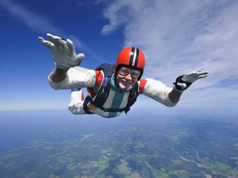 Skydiving man