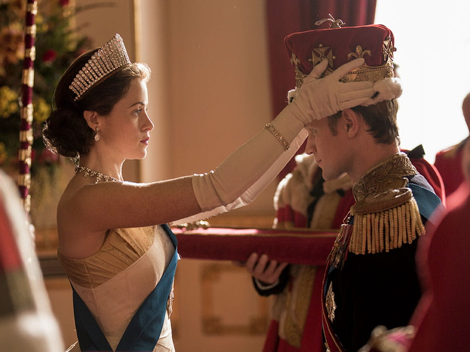 Clair Foy and Matt Smith in The Crown