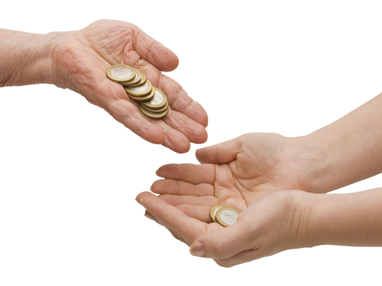 Hand giving money to another set of hands