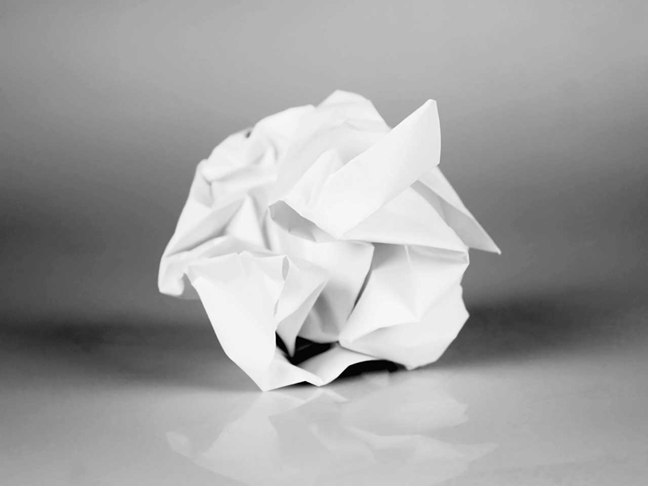 Scrunched up ball of paper