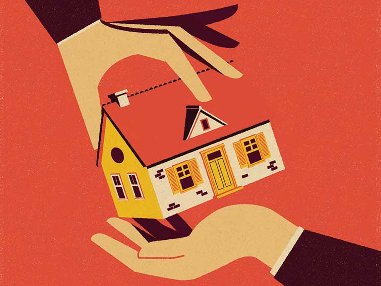An illustration of handing a house to another to represent the changes to inheritance tax