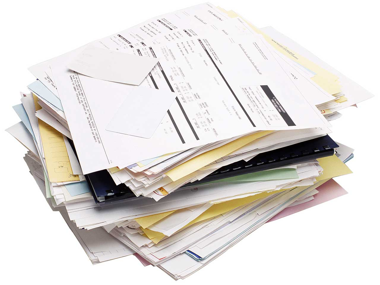 Piles of bills and debts