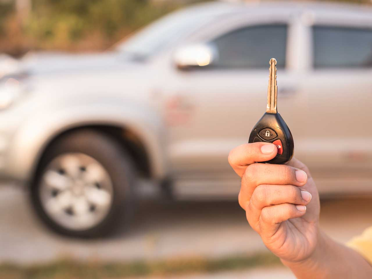 Car key being held