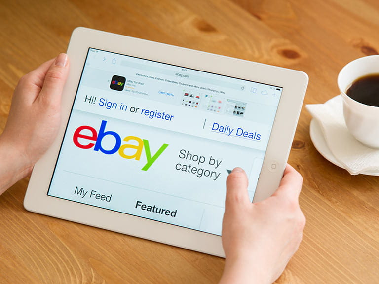 ebay web page on digital tablet