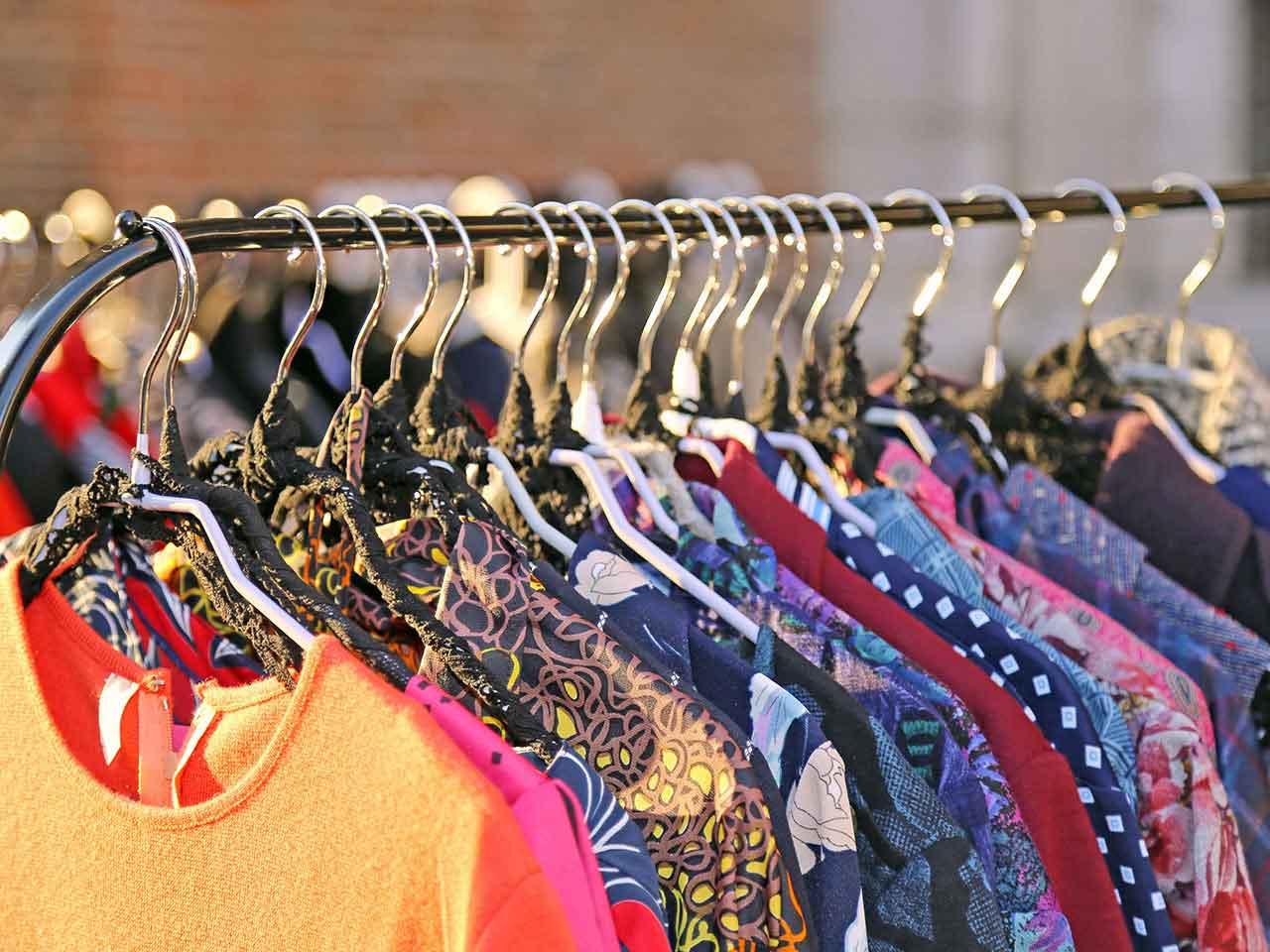 Rack of vintage clothes