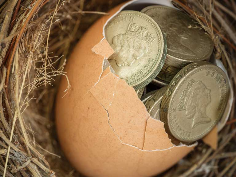 Birds nest with egg containing pound coins to represent saving