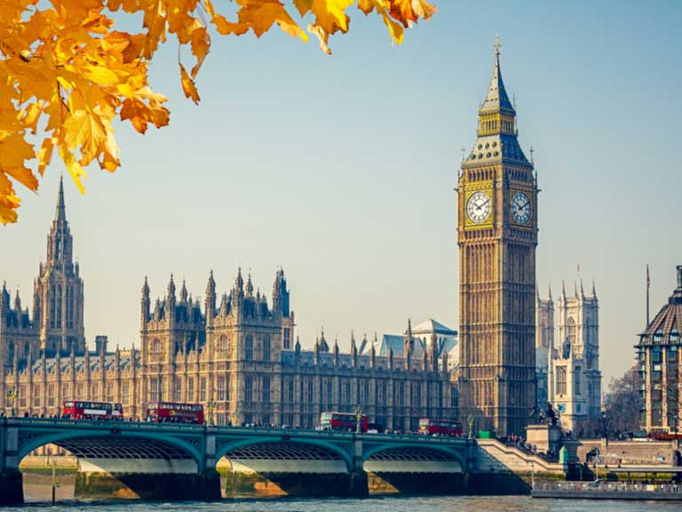 View of the Houses of Parliament and Big Ben with autumn leaves in the foreground