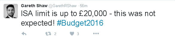 Gareth Shaw, Head of Consumer Affairs at Saga Investment Services, tweets about the new ISA allowance