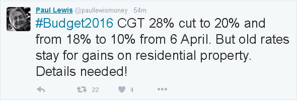Paul Lewis tweets about the changes to Capital Gains Tax