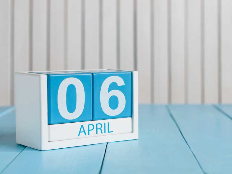 wooden block calendar showing the date of the new tax year 6 april
