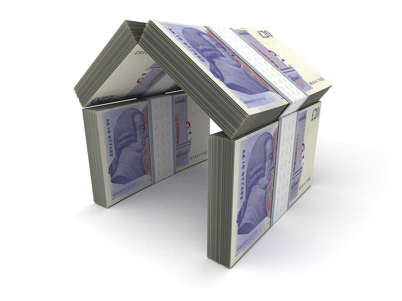 House built out of twenty pound notes