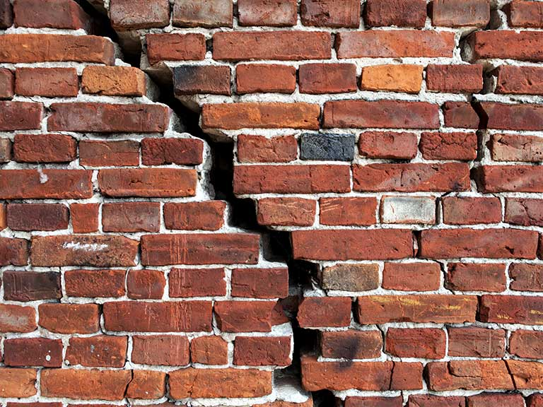 A crack in brickwork could be subsidence