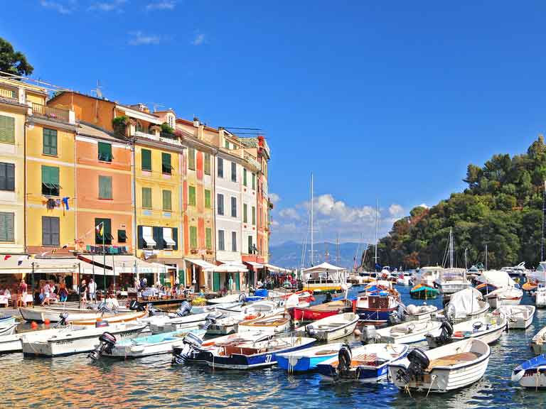 Pretty town harbour of Portofino, Italy.