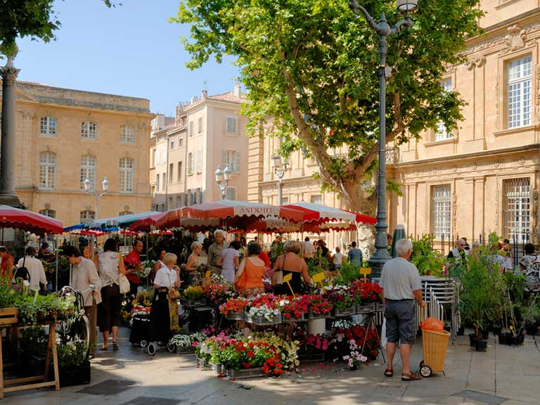 Market in Aix-en-Provence in France