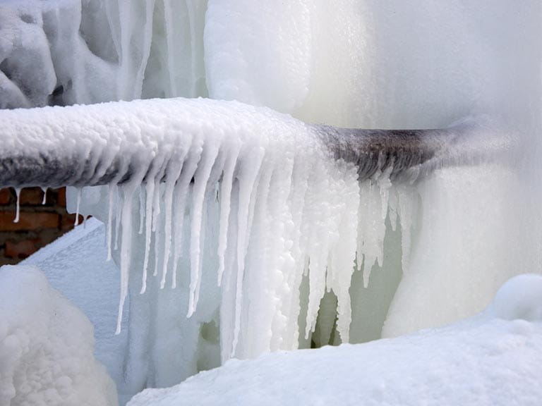 Frozen water pipes in winter