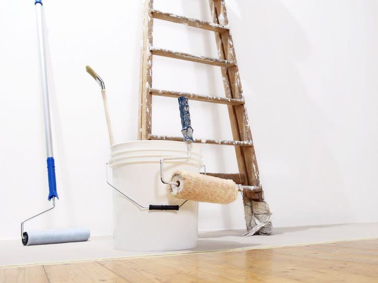 Ladder, paint and decorating tools