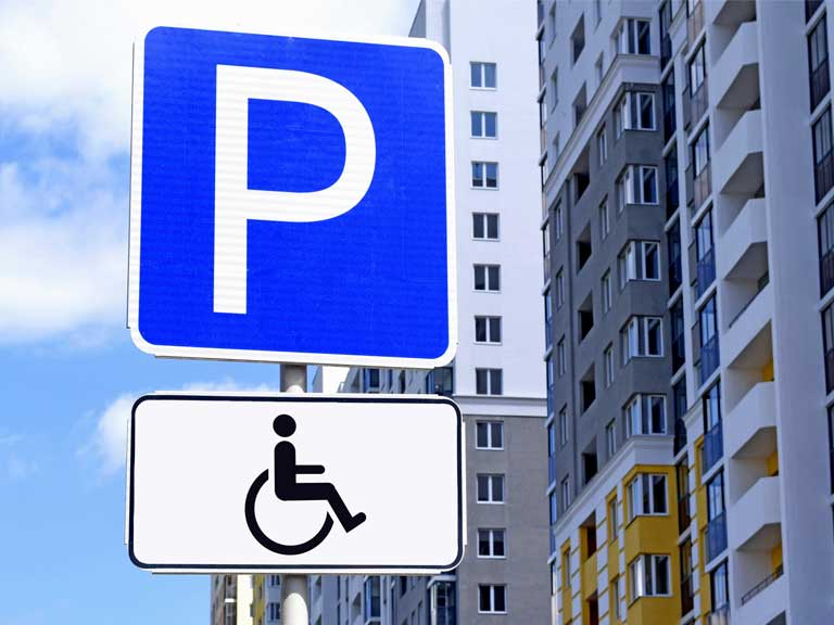 Road sign for a disabled parking space